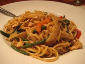 Osha Stir Fried Noodles Green Curry